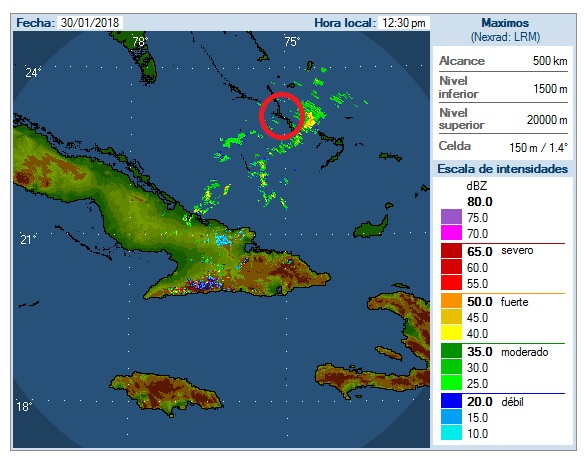 Weather Radar in The Bahamas via The Cuban Meteorological